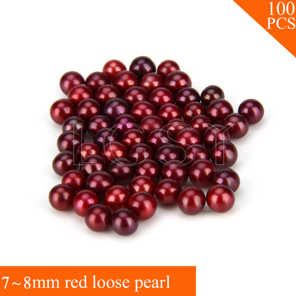 Fashion Bright color 100pcs 7-8mm AAA Red saltwater round akoya loose pearls for women fitting Jewelry endearing round neck 3 4 sleeve printed loose fitting sweatshirt for women