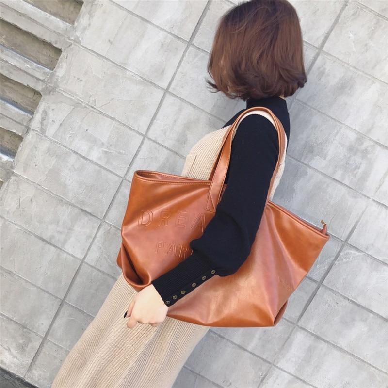Della Il Casual Versione Grande Chiaro Coreana Femminile Marea Sacchetto marrone Capacità Moda Nero Selvaggio Di Semplice Spalla wnEOdqdY
