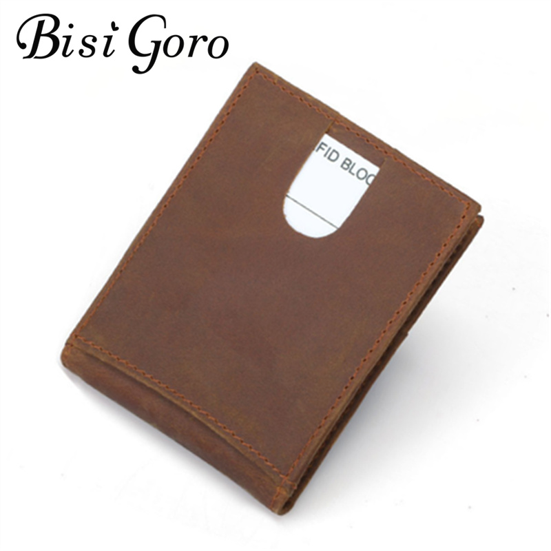 Bisi Goro 2018 Men Money Clip 100% Real Leather Vintage Wallets Crazy Horse RFID Blocking Wallets Crazy Horse skin ...