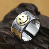 Smile Face Solid Silver 925 Thick Cuff Band Rings Men Handmade 925 Sterling Silver Jewelry Man Cool Thai Silver Male Rings 13.6g