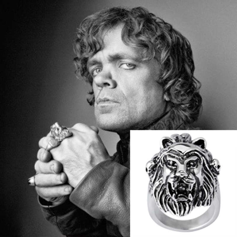 game of thrones stark lannister wolf lion family badge rings antique silver cool men ring. Black Bedroom Furniture Sets. Home Design Ideas