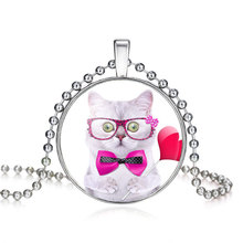Trendy Cat Pattern Glass Pendant Necklace for Girls