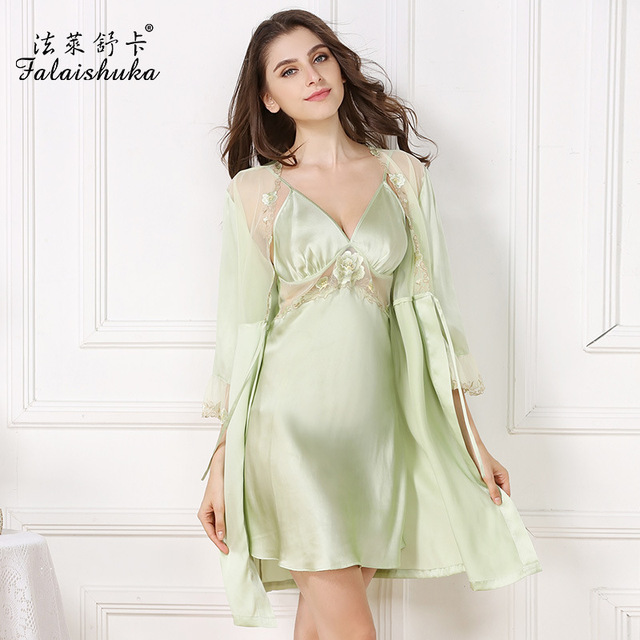 Spring Women Pure Silk Nightgowns Two-Piece Robe Sets 100% Mulberry Silk  Bathrobes Pijama a04899c15