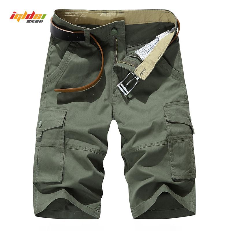 Mens Cargo Shorts Summer Multi Pockets Army Tactical Shorts Men Cotton Military Shorts Casual Loose Knee Length Short Pants 40