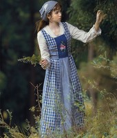 Jessica's Store Autumn Women Vintage French Pastoral Style V Neck Embroidery Plaid Cotton Linen Patchwork Long Cinderella Dress