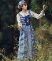 Spring vestidos Autumn Women Vintage French Pastoral Style V Neck Embroidery Plaid Cotton Linen Patchwork Long Cinderella Dress