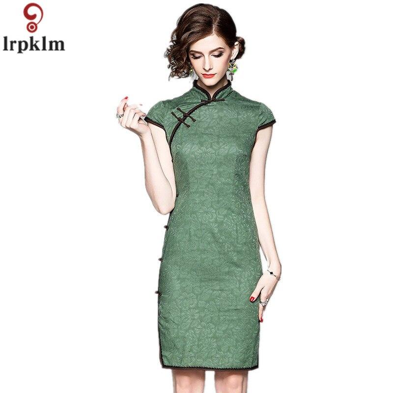 Lumière de luxe Boutique femmes robe 2018 été nouveau solide rétro mode Jacquard élégant Cheongsam classique mince robe CH270