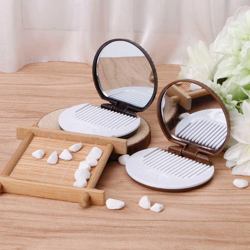 2 Adorável Mini Espelho de Maquiagem Espelho de Bolso Com Pente Do Bolinho Em Forma de Vidro + Plástico 2017 Bonito Da Menina Das Mulheres Espelho de Viagem moda de Nova