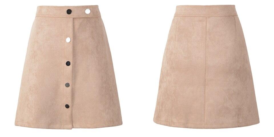 Neophil 19 Winter Women Suede Button Mini Vintage Style A Line Skirts High Waist Black Wrap Ladies Short Skirt Tutu Saia S1001 9