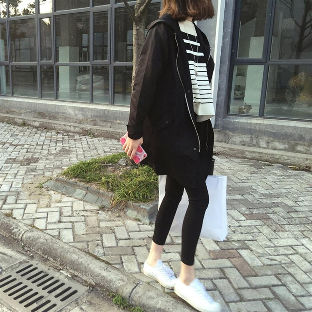 Korean Fashion England Style Spring Autumn Loose Type Jacket Outwear Letter Printed Long Style Female Jacket Coat With Zipper 1
