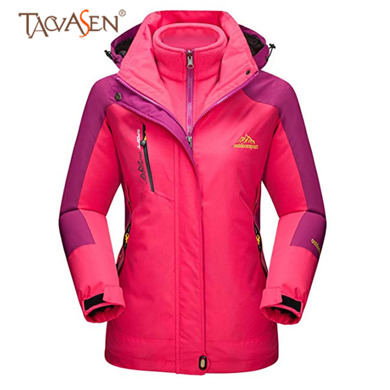TACVASEN Women Climbing Fleece Jacket Waterproof Outdoor Warm Rain Jacket Windproof Hiking Camping Softshell Snowboard Jacket(China)