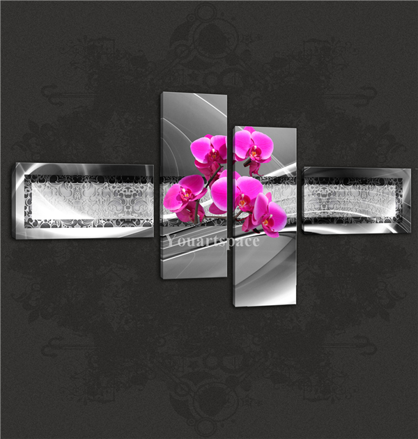 4 Piece Wall Art Modern Abstract Acrylic Purple Flower Orchid Gray Picture Painting Canvas Pictures Decor Oil - Youartspace store