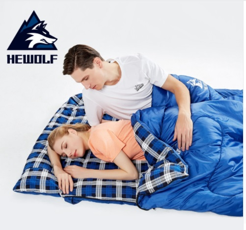 Hewolf Outdoors Adult 3 Season Camping Sleeping Bag Hotel Septum Traveling Use Can Splicing Into Two Seperate Si