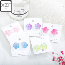 XZP S925 Korea Earrings Acrylic Ear Rings Cherry Gradient Color Geometric Square Fashion Female Stud 2019 Women Jewelry