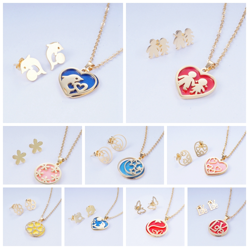Yunkingdom Earrings Necklace Jewelry-Set Pendant Stainless-Steel New Dolphin Round Heart