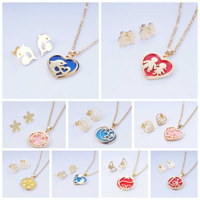 Yunkingdom 2019 New Jewelry Set Heart Round Dolphin Resin Stainless Steel Jewelry Sets Necklace Pendant Earrings for Women