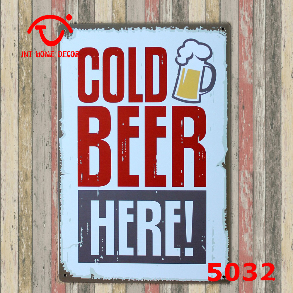 aliexpresscom buy bar plaque beer drink home decor wall sticker decor iron retro tin metal signs plaques cold beer here 20x30cm from reliable sticker - Metal Signs Home Decor