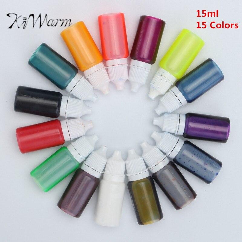 KiWarm Praktische 15 stücke 15 ml Kristall Epoxidharz Pigment UV Harz Färben Farbstoff Farbpigment für Handgemachte DIY Handwerk liefert