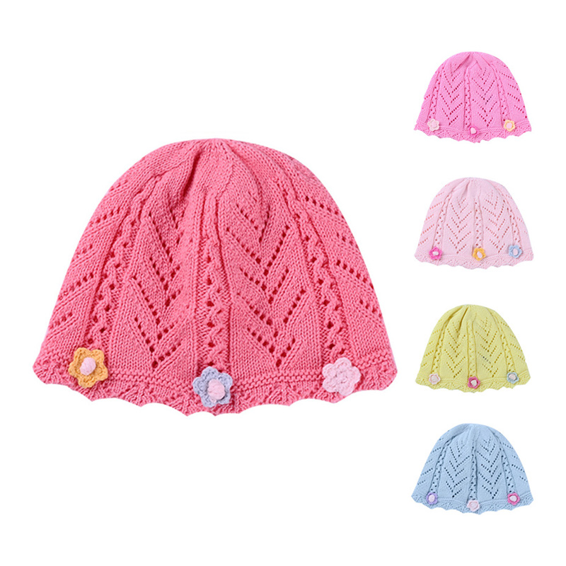 Autumn Baby Girls Hat With Flowers Knitted Pattern Baby Hat For