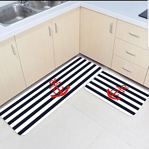 2 Piece Kitchen Mats And Rugs Set Navy Blue And White Stripes Red
