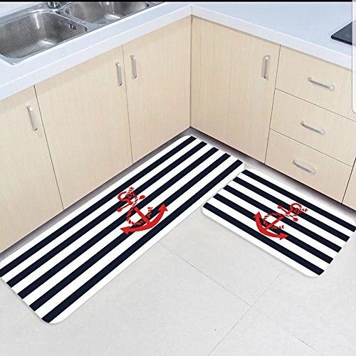 2 pièces tapis de cuisine et tapis ensemble bleu marine et blanc rayures rouge ancre maison Deocr antidérapant zone coureur paillassons tapis