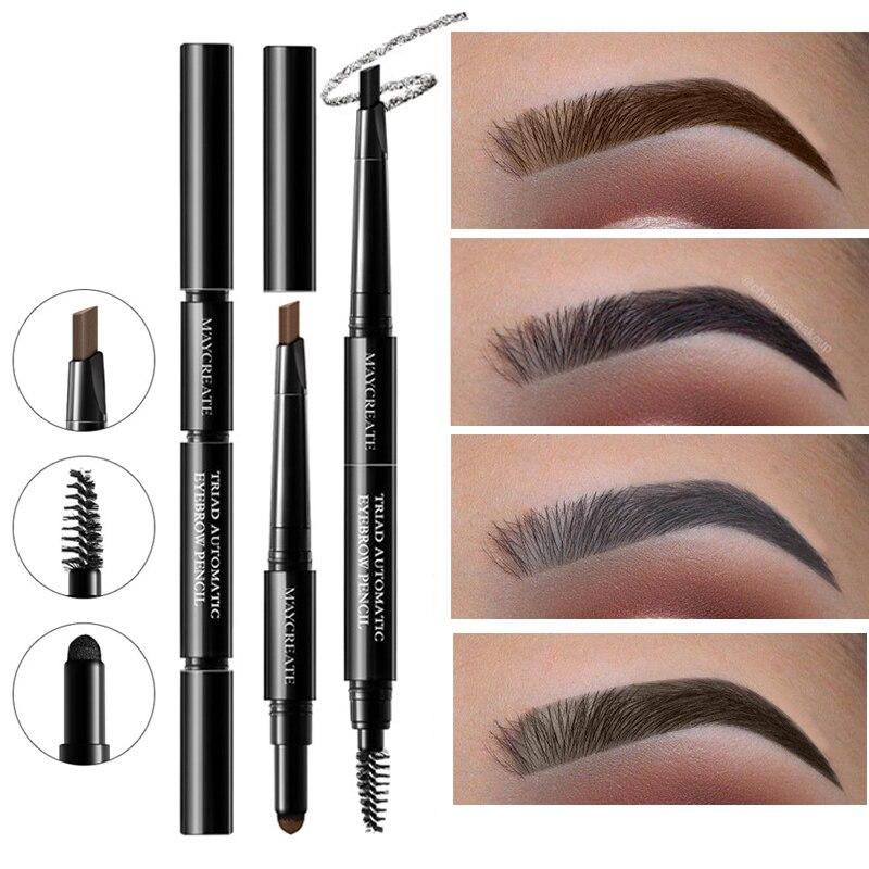 MayCreate Brand 3 in 1 Eye Brows Set for Women Waterproof Brow Pencil + Powder + Brush Pigment Black Brown Eyebrow Kit