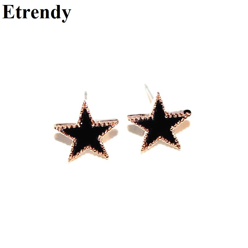 Cute Black Star Stud Earrings For Women And S Bijoux New Fashion Jewelry Christmas Gift All Match Casual In From