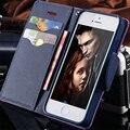 Para iphone 7 plus flip ranura de la tarjeta soporte de la carpeta cubierta de cuero del color del golpe caja del teléfono móvil para iphone 5 5s se 6 6 s plus 7 más Capa