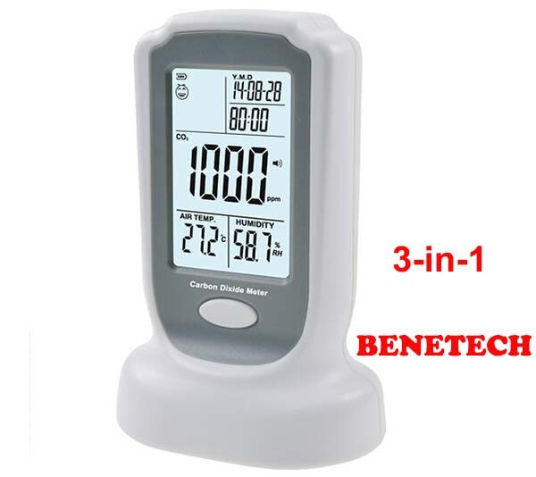 BENETECH GM8802  Digital CO2 Meter  CO2 monitor meter detector Carbon Dioxide  Detector Temperature Humidity test  free shipping 0 2000ppm range wall mount indoor air quality temperature rh carbon dioxide co2 monitor digital meter sensor controller