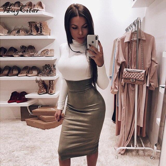 Hugcitar cotton high neck long sleeve solid bodysuit 2019 autumn winter women fashion party bodycon slim fit sexy basic body 10