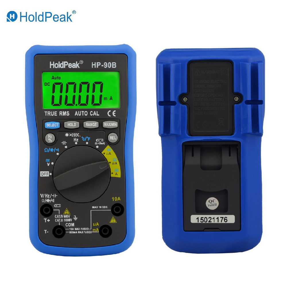 Multimerto DigitalHoldPeak HP-90B True RMS Digital Multimeter Auto Range Max/Min and Battery Tester with Temperature Unit Select hp 90b hp90b auto range digital multimeter digital avo meter