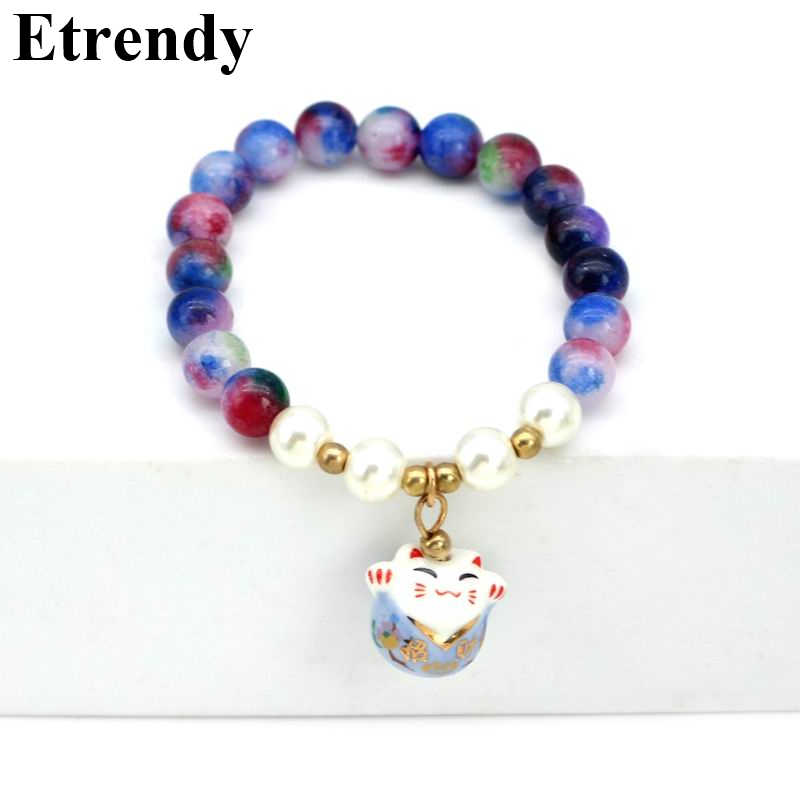Women's Lucky Cat Bracelet Elasic Red Black Purple Pink Green Classic Fashion Jewelry Cute Gift