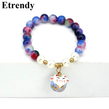 Womens Lucky Cat Bracelet Elasic Red Black Purple Pink Green Classic Fashion Jewelry Cute Gift