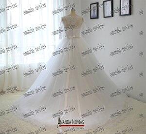 Image 5 - Vestido de novia de media manga con cinturón de cristal y Apliques de encaje, Amanda Novias, 2019