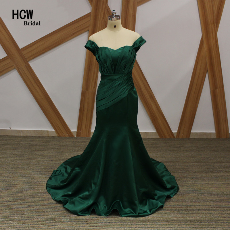 Dark Green Mermaid   Dress     Evening   Strapless Cap Sleeve Pleat Satin Arabic Party Gowns 2019 Long Elegant Formal   Evening     Dresses