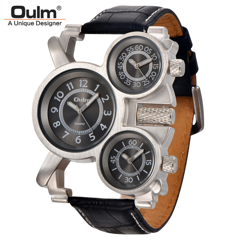 Prix pour Mens Montres Oulm Top Marque De Luxe Militaire Montre À Quartz Unique 3 Petits Cadrans Bracelet En Cuir Homme Montre-Bracelet Relojes Hombre