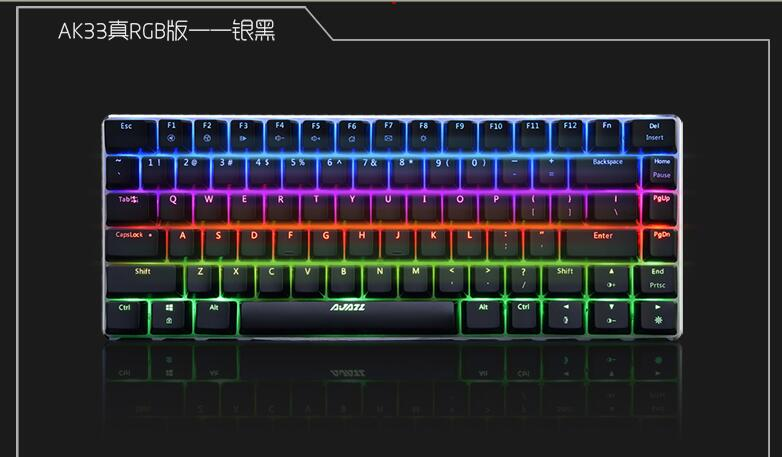 Ajazz Ak33 RGB 19 Modes Backlit 82 Keys Alloy Case Antighosting Gaming Mechanical Keyboard Zorro Black