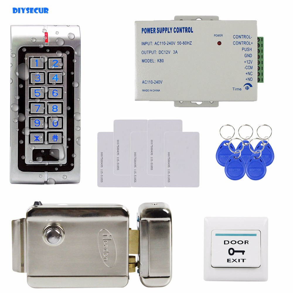 DIYSECUR W1 Complete RFID Access Control System Kit Set + Electric Door Lock +  RFID Cards + Power Supply digital electric best rfid hotel electronic door lock for flat apartment