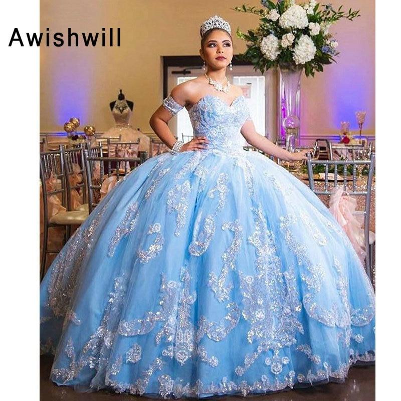 Robes sur mesure de 15 anos dentelle Appliques Tulle robes de bal robe de soirée formelle 2019 fille Quinceanera robe