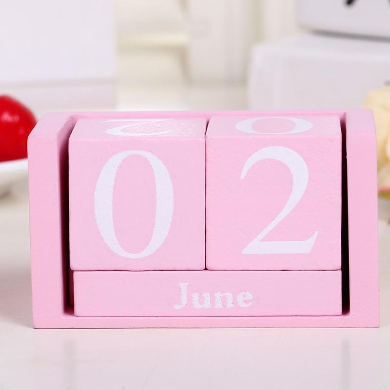Vintage Wooden Perpetual Desk Calendar Block Planner Permanent Desktop Organizer DIY Agenda Store