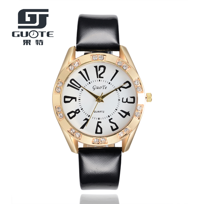 GUOTE Fashion Women's Diamonds Wrist Watches Leather Watchband Top Luxury Brand Ladies Quartz Clock Females Hours Best Gift