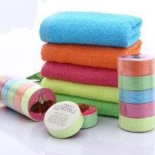 Serviette compressée une fois en coton, serviette portable, couleur aléatoire, voyage en plein air