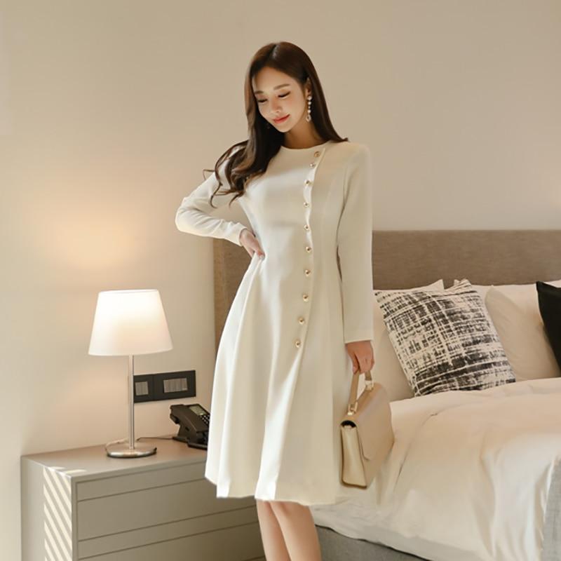 Elegant Dress Women Casual Long Sleeve Dress Office Lady Runway Designers High Fashion Dress 40