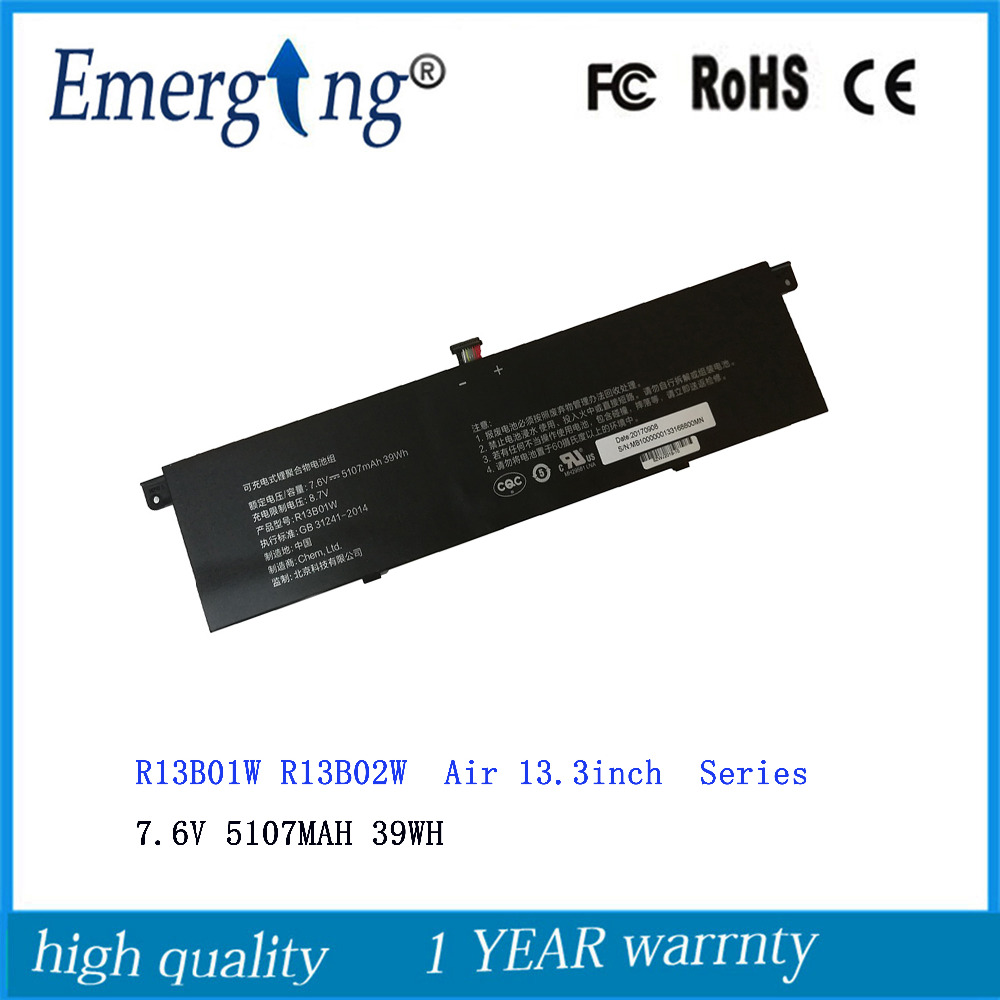 7.6V 39WH 5107MAH New R13B01W R13B02W Laptop Battery For Xiaomi Mi Air  13.3inch 161301-01 R13B01W R13B02W