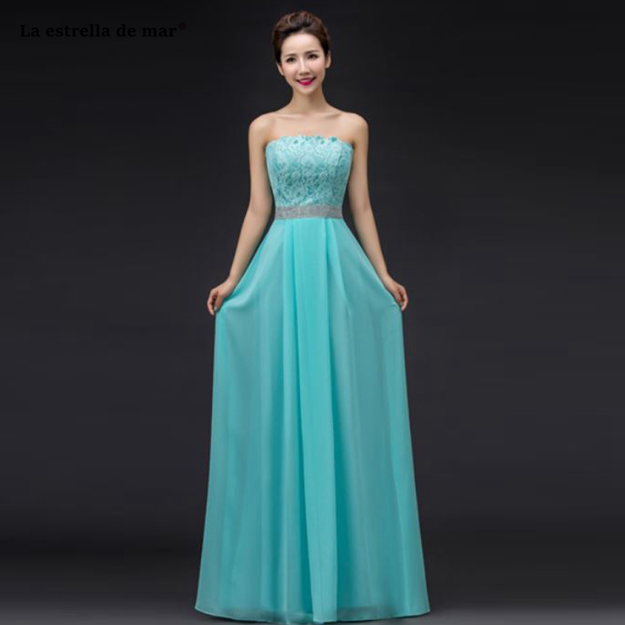 Vestido madrinha2018 new lace and chiffon crystal heart sweetheart a Line turquoise champagne white red   bridesmaid     dresses   long