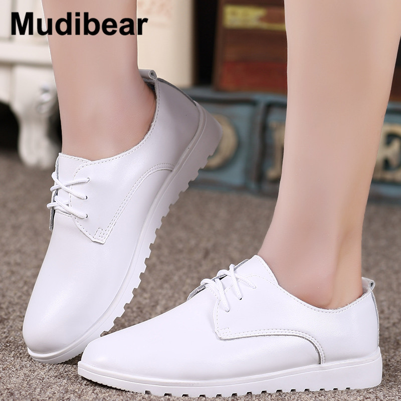 Mudibear New Lace-up Leather Women Flat White Black Shoes Pointed Toe Deep Mouth Soft Bottom Leisure Flat Cottom Tie Woman free shipping 2017 new arival hollowed out peep toe canvas shoes fashion flat bottom denim shoe ginger green black white