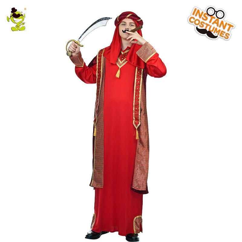 e7ecd95f6 Venda quente dos homens Árabes Peregrino Traje Masquerade Manto Árabe  Tradicional Vermelho Cosplay Trajes Árabes para Adultos do Sexo Masculino