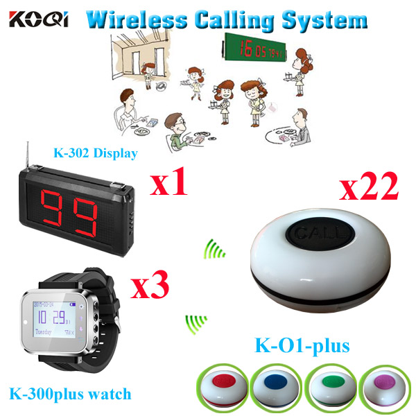 Wireless Guest Pager System Western Wrist Watch With 1-key Transmitter Call Button (1 display with 3 watch and 22 call buzzer)