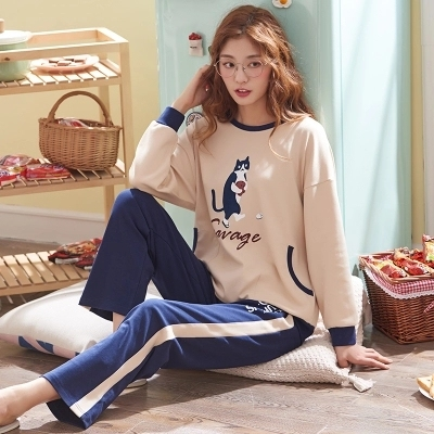 Pajamas women spring and autumn cotton long-sleeved summer thin section home service cartoon suit Lady cartoon pajamas
