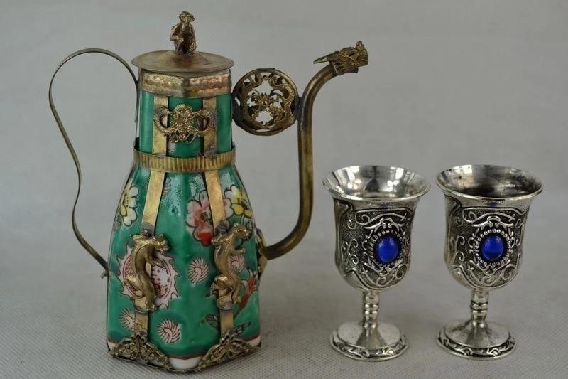 Old Decorated Hand Porcelain Miao Silver Carve Leopard Flower Rare Tea Pot /& Cup